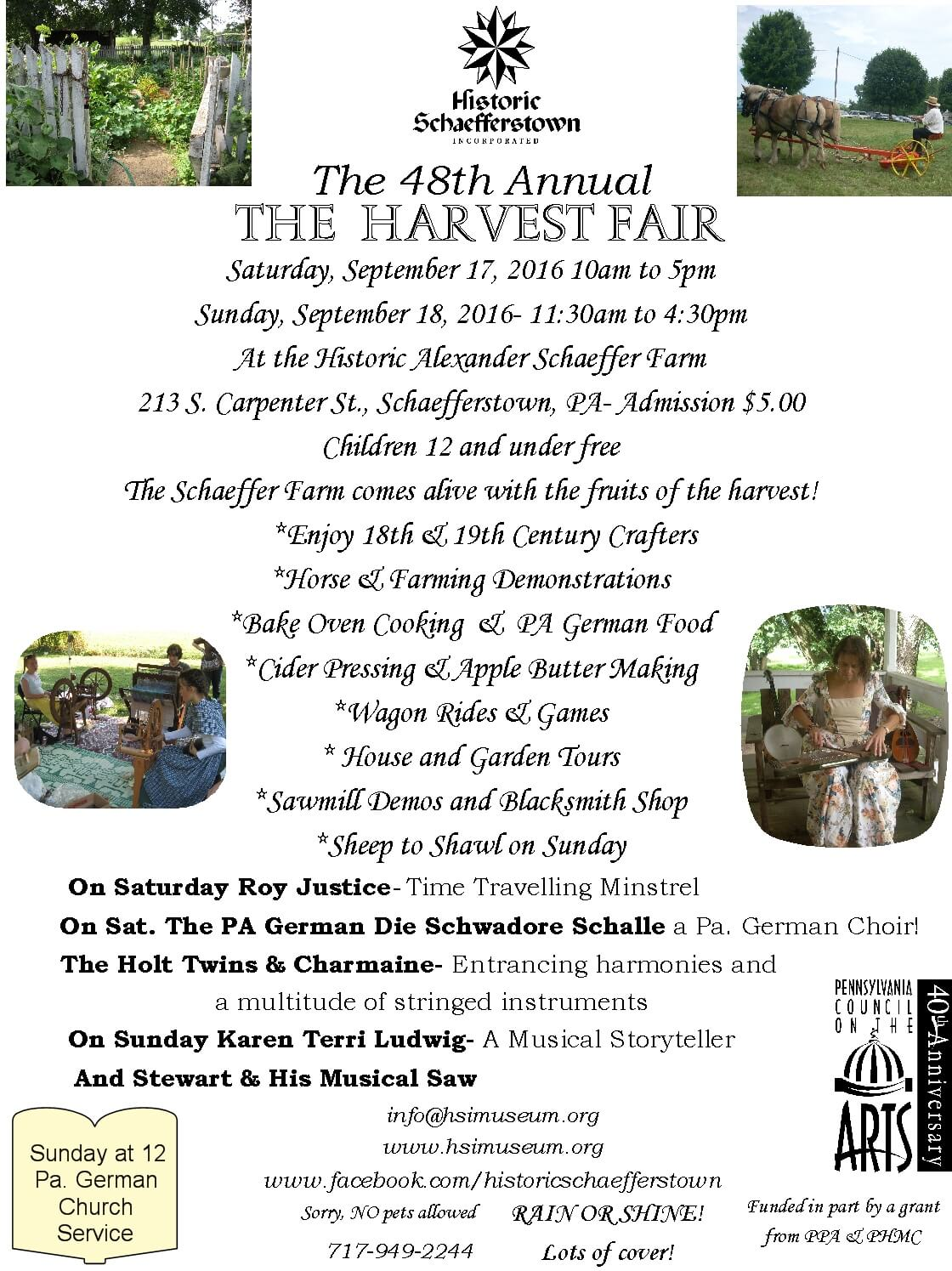 2016 Harvest Fair Flyer outlines our weekend full of events